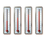 Illustrative image of thermometers showing rising temperatures over white background representing global warming