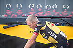 Robert Gesink (NED) Jumbo-Visma warms up at the team bus before Stage 19 of La Vuelta d'Espana 2021, running 191.2km from Tapia de Casariego to Monforte de Lemos, Spain. 3rd September 2021.    <br /> Picture: Unipublic/Charly Lopez   Cyclefile<br /> <br /> All photos usage must carry mandatory copyright credit (© Cyclefile   Charly Lopez/Unipublic)