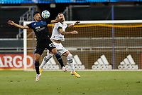 SAN JOSE, CA - SEPTEMBER 16: Andy Rios #25 of the San Jose Earthquakes goes up for a header with Dario Zuparic #13 of the Portland Timbers during a game between Portland Timbers and San Jose Earthquakes at Earthquakes Stadium on September 16, 2020 in San Jose, California.