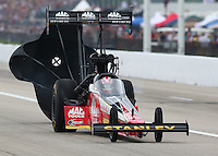 Apr 26, 2014; Baytown, TX, USA; NHRA top fuel driver Doug Kalitta during qualifying for the Spring Nationals at Royal Purple Raceway. Mandatory Credit: Mark J. Rebilas-