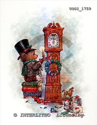GIORDANO, CHRISTMAS ANIMALS, WEIHNACHTEN TIERE, NAVIDAD ANIMALES, Teddies, paintings+++++,USGI1759,#XA#