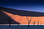 """As the sun's rays creep up the steep red dunes surrounding Dead Vlei, or """"Dry Lake,"""" bands of rich color are interrupted by surreal spikes of calcified acacias."""