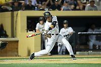Bruce Steel (17) of the Wake Forest Demon Deacons takes his swings against the West Virginia Mountaineers in Game Four of the Winston-Salem Regional in the 2017 College World Series at David F. Couch Ballpark on June 3, 2017 in Winston-Salem, North Carolina.  The Demon Deacons walked-off the Mountaineers 4-3.  (Brian Westerholt/Four Seam Images)
