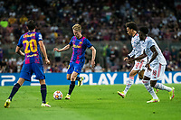 14th September 2021: Nou Camp, Barcelona, Spain: ECL Champions League football, FC Barcelona versus Bayern Munich: Frankie de Jong passes to Roberto past Leroy Sane