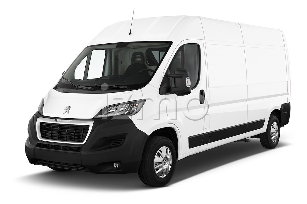 2015 Peugeot BOXER L4H2 4 Door Cargo Van Angular Front stock photos of front three quarter view