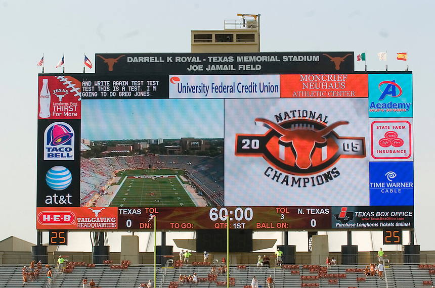 02 September 2006: The University of Texas' new high-defininition scoreboard, nicknamed Godzillatron by many fans, is the currently the largest of it's kind in the world as it stands behind the south end zone in Darrell K Royal Stadium in Austin, TX.