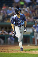 Parker Meadows (18) of the West Michigan Whitecaps hustles down the first base line against the Fort Wayne TinCaps at Parkview Field on August 5, 2019 in Fort Wayne, Indiana. The TinCaps defeated the Whitecaps 9-3. (Brian Westerholt/Four Seam Images)