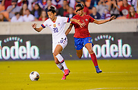 HOUSTON, TX - FEBRUARY 03: Christen Press #20 of the United States scores on a blistering shot during a game between Costa Rica and USWNT at BBVA Stadium on February 03, 2020 in Houston, Texas.