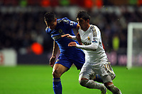 Saturday, 03 November 2012<br /> Pictured L-R: Cesar Azpilicueta of Chelsea against Pablo Hernandez of Swansea<br /> Re: Barclays Premier League, Swansea City FC v Chelsea at the Liberty Stadium, south Wales.