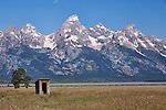 Outhouse with a view!  Mormon Row.  Grand Teton National Park, United States, Wyoming.  Mormon Row is a line of historic homesteads along Jackson-Moran Road, Grand Teton National Park.