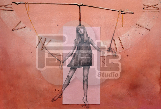 Illustrative image of woman hanging on clock hands representing menopause