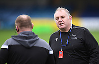 21st November 2020; Recreation Ground, Bath, Somerset, England; English Premiership Rugby, Bath versus Newcastle Falcons; Dean Richards Director of Rugby for Newcastle Falcons makes a point to an official before kick off