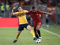 Football Soccer: UEFA Champions League AS Roma vs Atletico Madrid Stadio Olimpico Rome, Italy, September 12, 2017. <br /> Atletico Madrid's Filipe Luis (l) in action with Roma's Gregoire Defrel (r) during the Uefa Champions League football soccer match between AS Roma and Atletico Madrid at at Rome's Olympic stadium, September 12, 2017.<br /> UPDATE IMAGES PRESS/Isabella Bonotto