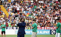Italian former footballer Andrea Pirlo holds the trophy before the start of the Uefa Under 21 Championship 2019 football final match between Spain and Germany at Udine's Friuli stadium, Italy, June 30, 2019. Spain won 2-1.<br /> UPDATE IMAGES PRESS/Isabella Bonotto