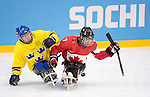 Marc Dorion, Sochi 2014 - Para Ice Hockey // Para-hockey sur glace.<br /> Team Canada takes on Sweden in Para Ice Hockey // Équipe Canada affronte la Suède en para-hockey sur glace. 08/03/2014.