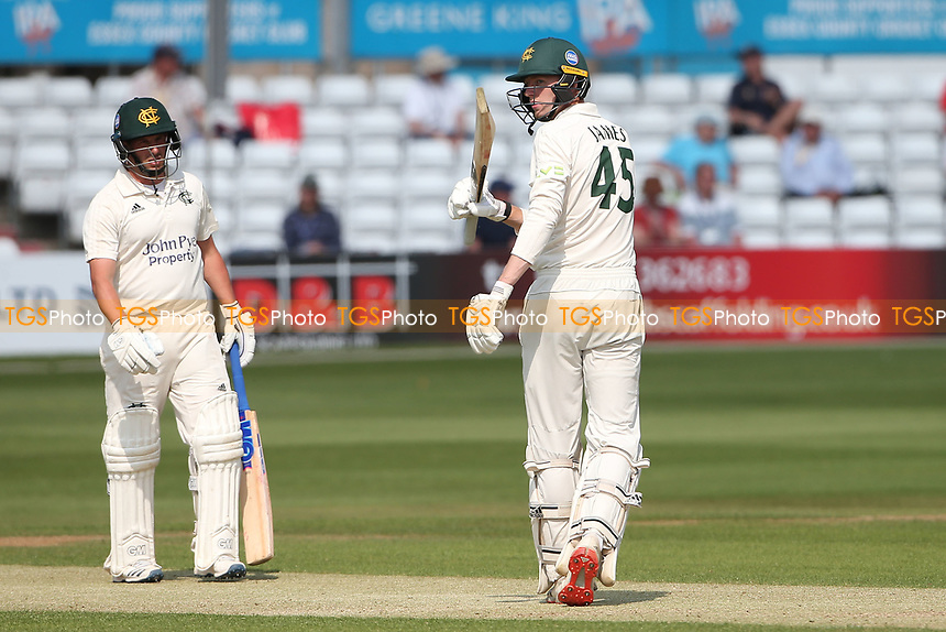 Lyndon James raises his bat to celebrate reaching his fifty during Essex CCC vs Nottinghamshire CCC, LV Insurance County Championship Group 1 Cricket at The Cloudfm County Ground on 3rd June 2021