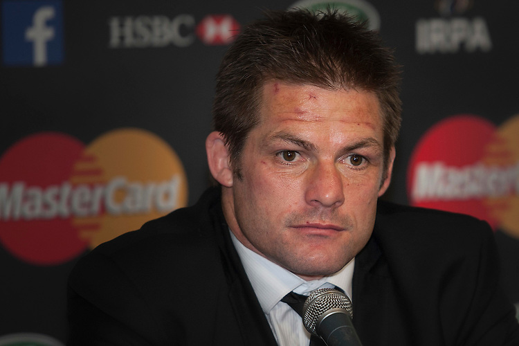 Richie McCaw of New Zealand speak to the media as Dan Carter looks on at the World Rugby Awards 2015  - 01/11/2015 - Battersea Evolution, London<br /> Mandatory Credit: Rob Munro/Stewart Communications