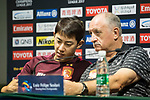 Guangzhou Evergrande FC head coach Luiz Felipe Scolari (R) listens  during Pre-Match Press Conference and Training Session prior to the AFC Champions League 2017 Quarter-Finals match between Shanghai SIPG (CHN) and Guangzhou Evergrande (CHN) at the Shanghai Stadium on 21 August 2017 in Shanghai, China. Photo by Yu Chun Christopher Wong / Power Sport Images