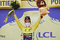 9th September 2020, Chatelaillon Plage to Poitiers, France; 107th Tour de France Cycling tour, stage 11;  Jumbo - Visma Roglic, Primoz celebrates on podium in Poitiers