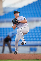 Jupiter Hammerheads starting pitcher Ryan Lillie (21) delivers a pitch during a game against the Dunedin Blue Jays on August 14, 2018 at Dunedin Stadium in Dunedin, Florida.  Jupiter defeated Dunedin 5-4 in 10 innings.  (Mike Janes/Four Seam Images)