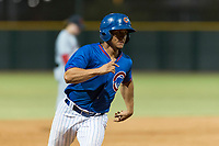 AZL Cubs 2 designated hitter Henderson Perez (8) hustles towards third base during an Arizona League game against the AZL Indians 2 at Sloan Park on August 2, 2018 in Mesa, Arizona. The AZL Indians 2 defeated the AZL Cubs 2 by a score of 9-8. (Zachary Lucy/Four Seam Images)