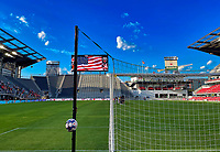 WASHINGTON, DC - SEPTEMBER 6: Audi Field during the national anthem before a game between University of Virginia and University of maryland at Audi Field on September 6, 2021 in Washington, DC.