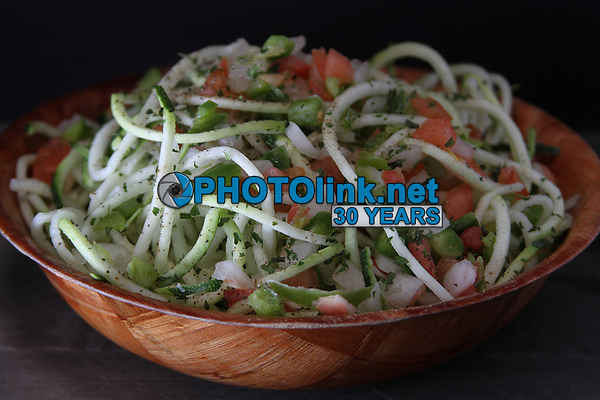 Stringed Zucchini with Tomato Trinity Salad<br /> Photo By Adam Scull/PHOTOlink.net