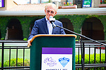DEL MAR,CA-AUGUST 17: 08-17-18 Jo Harpor,the CEO of Del Mar Thoroughbred Culb in the announcement about 2021 Breeders' Cup at Del Mar at Del Mar Race Track on August 17,2018 in Del Mar,California (Photo by Kaz Ishida/Eclipse Sportswire/Getty Images)