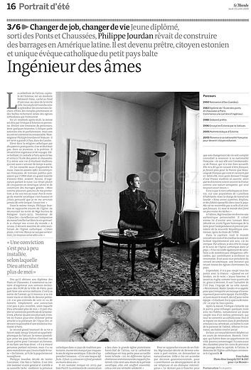 LE MONDE (main French daily newspaper)..2009/07/23.A French bishop in Estonie..Photo: Rivo Sarapik