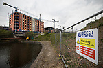 © Joel Goodman - 07973 332324 . 30/04/2017 . Salford, UK . GV of the development . Homeless men are living in a towpath tunnel in Saford , in the shadow of the Ordsall Chord railway link and a large , Chinese-backed housing development. Photo credit : Joel Goodman
