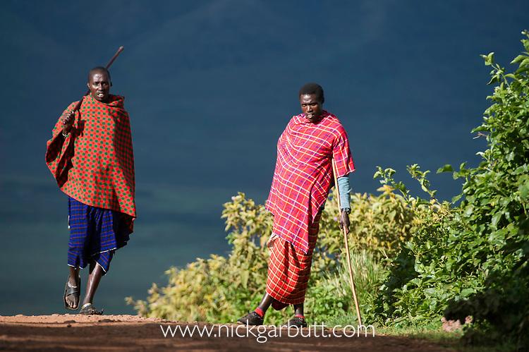 Masai herdsman on the rim of the Ngorongoro Crater. Ngorongoro Conservation Area, Tanzania.