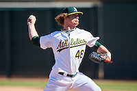 Oakland Athletics pitcher Grant Holmes (46) during an Instructional League game against the San Francisco Giants on October 5, 2016 at Fitch Park in Mesa, Arizona.  (Mike Janes/Four Seam Images)