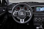 Steering wheel view of a 2010 Mitsubishi Lancer Sportback