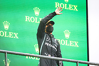 29th August 2021; Spa Francorchamps, Stavelot, Belgium: FIA F1 Grand Prix of Belgium,  race day: podium HAMILTON Lewis (gbr), Mercedes AMG F1 GP W12 E Performance on the podium after the formation laps in heavy rain before cancellation of the race due to standing water