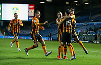 Hull City's Alfie Jones celebrates scoring the winning penalty with teammates<br /> <br /> Photographer Alex Dodd/CameraSport<br /> <br /> Carabao Cup Second Round Northern Section - Leeds United v Hull City -  Wednesday 16th September 2020 - Elland Road - Leeds<br />  <br /> World Copyright © 2020 CameraSport. All rights reserved. 43 Linden Ave. Countesthorpe. Leicester. England. LE8 5PG - Tel: +44 (0) 116 277 4147 - admin@camerasport.com - www.camerasport.com