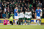 St Johnstone v Celtic…07.10.18…   McDiarmid Park    SPFL<br />Zander Clark is grounded as James Forrest celebrates scoring his second goal of the game<br />Picture by Graeme Hart. <br />Copyright Perthshire Picture Agency<br />Tel: 01738 623350  Mobile: 07990 594431