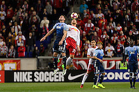Harrison, NJ - Wednesday Feb. 22, 2017: Jake Nerwinski, Daniel Royer during a Scotiabank CONCACAF Champions League quarterfinal match between the New York Red Bulls and the Vancouver Whitecaps FC at Red Bull Arena.
