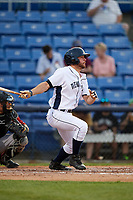 Binghamton Rumble Ponies right fielder Kevin Kaczmarski (14) follows through on a swing during a game against the Altoona Curve on May 17, 2017 at NYSEG Stadium in Binghamton, New York.  Altoona defeated Binghamton 8-6.  (Mike Janes/Four Seam Images)