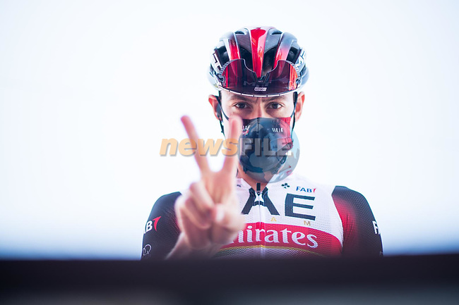 David De La Cruz (ESP) UAE Team Emirates at sign on before the start of Stage 14 of La Vuelta d'Espana 2021, running 165.7km from Don Benito to Pico Villuercas, Spain. 28th August 2021.     <br /> Picture: Unipublic/Charly Lopez | Cyclefile<br /> <br /> All photos usage must carry mandatory copyright credit (© Cyclefile | Charly Lopez/Unipublic)
