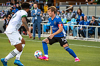 SAN JOSE, CA - MAY 15: Jackson Yueill #14 of the San Jose Earthquakes controls the ball during a game between San Jose Earthquakes and Portland Timbers at PayPal Park on May 15, 2021 in San Jose, California.