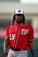 Washington Nationals first baseman Josh Bell (19) during a Major League Spring Training game against the Houston Astros on March 19, 2021 at The Ballpark of the Palm Beaches in Palm Beach, Florida.  (Mike Janes/Four Seam Images)