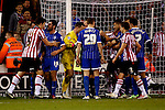 Sheffield United v Gillingham<br /> 16.11.2013<br /> Sky Bet League One.<br /> Picture Shaun Flannery/Trevor Smith Photography<br /> Goal mouth melee after a United attack.
