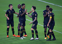 LOS ANGELES, CA - SEPTEMBER 13: Mark-Anthony Kaye #14 of LAFC scores a goal and celebrates with team mate Brian Rodriguez #17 and LAFC during a game between Portland Timbers and Los Angeles FC at Banc of California stadium on September 13, 2020 in Los Angeles, California.