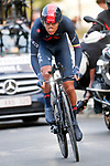 Egan Bernal (COL) Ineos Grenadiers in action during Stage 1 of La Vuelta d'Espana 2021, a 7.1km individual time trial around Burgos, Spain. 14th August 2021.    <br /> Picture: Luis Angel Gomez/Photogomezsport | Cyclefile<br /> <br /> All photos usage must carry mandatory copyright credit (© Cyclefile | Luis Angel Gomez/Photogomezsport)