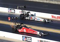 Oct 14, 2019; Concord, NC, USA; NHRA top fuel driver Doug Kalitta (near) alongside Antron Brown during the Carolina Nationals at zMax Dragway. Mandatory Credit: Mark J. Rebilas-USA TODAY Sports