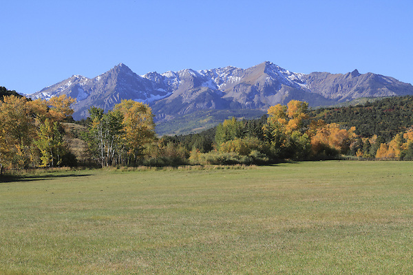 Sneffels Range with Aspen trees and pasture in autumn colors.