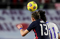 FORT LAUDERDALE, FL - DECEMBER 09: Sam Vines #13 of the United States heads a ball during a game between El Salvador and USMNT at Inter Miami CF Stadium on December 09, 2020 in Fort Lauderdale, Florida.