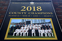 2018 County Champions sign during Surrey CCC vs Essex CCC, Specsavers County Championship Division 1 Cricket at the Kia Oval on 12th April 2019