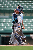 GCL Rays catcher Alexander Alvarez (21) during a game against the GCL Orioles on July 21, 2017 at Ed Smith Stadium in Sarasota, Florida.  GCL Orioles defeated the GCL Rays 9-0.  (Mike Janes/Four Seam Images)