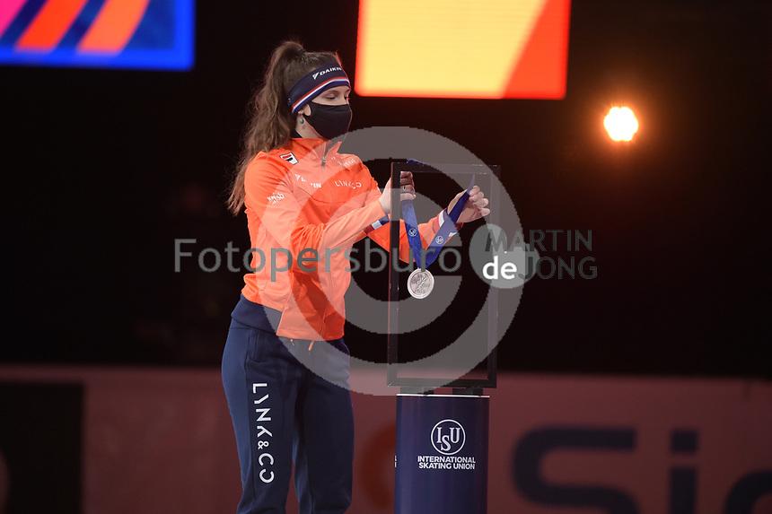 SPEEDSKATING: DORDRECHT: 06-03-2021, ISU World Short Track Speedskating Championships, Podium 500m Ladies, Selma Poutsma (NED), ©photo Martin de Jong